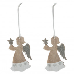 Décoration Sujet de Noël Lot de 2 Anges en bois pailleté et bicolore H 9.9 cm collection Dis Maman