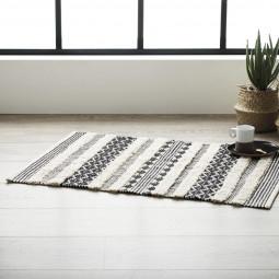 Tapis coton noir et blanc 60x90 cm