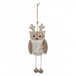 Décoration Sujet de Noël Hibou en bois et fourrure avec grelots L 13 cm  A l'orée des bois