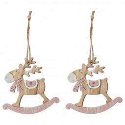 """Lot de 2 sujets de noël renne à bascule en bois """"petit flocon"""""""