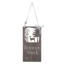 Décoration Suspension de Noël Pancarte ajourée JOYEUX NOEL L 35 cm collection Lodge