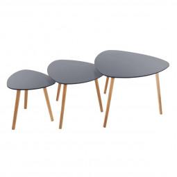 Lot de 3 tables à café grises Mileo