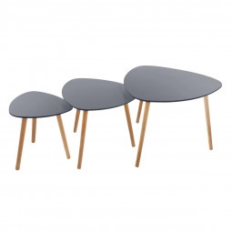 Lot de 3 tables de café mileo grises