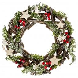 Décoration de Noël Couronne avec branches bois et sapin D 30 cm Un Noël kinfolk