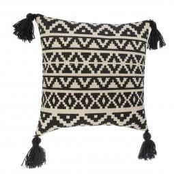Coussin coton Dehli noir & blanc 40 x 40 cm