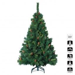 Sapin de Noël artificiel Vert avec Pomme de Pin H 150 cm collection Royal Majestic