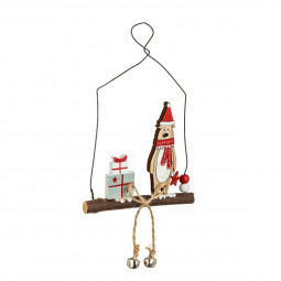 Décoration Sujet de Noël Renne avec clochettes sur une branche H 15 cm Comptoir de Noël
