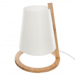 Lampe bambou + abat-jour plastique h26