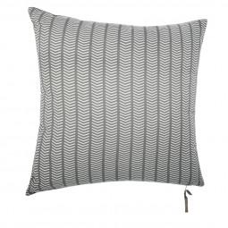 Coussin imprimé + velours spirit gris foncé 40 x 40 cm