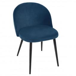 Chaise velours nael bleu