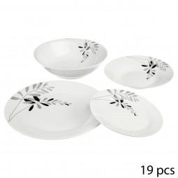 Service de 19 pièces floral gris