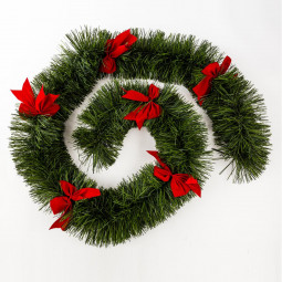 Guirlande de Noël Boa large 20 cm Vert avec Noeuds Rouge Longueur 270 cm Les incontournables