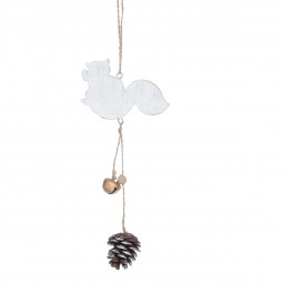 Décoration Sujet de Noël  Forme en bois avec pomme de pin et grelot H 20 cm  A l'orée des bois