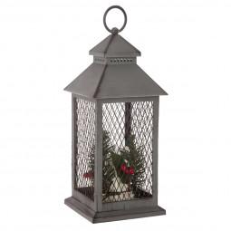 Décoration lumineuse Lanterne grillagée 3 LED H 31 cm  A l'orée des bois