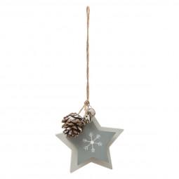 Décoration Sujet de Noël Étoile double avec pomme de pin D 10 cm A l'orée des bois