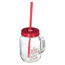 Chope en verre avec Paille H 13 cm Comptoir de Noël