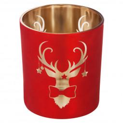 Photophore en verre décor Rouge et Or H 10 cm Colorama de Noël
