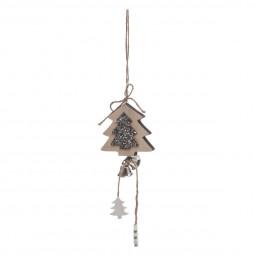 Décoration Suspension Sujet de Noël Forme en Bois L 28 cm collection Lodge