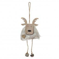 Décoration Sujet de Noël Renne en bois et fourrure avec grelots L 11 cm Un Noël kinfolk