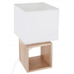 Lampe bois carré h32