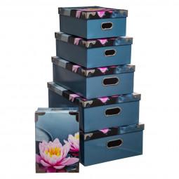 Lot de 6 boites coins métal fleur zen