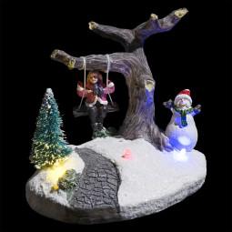 Village de Noël lumineux Scène de Noël autour de sapins Collection Village au village