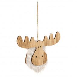 Décoration Suspension Sujet de Noël Renne en bois et fourrure L 18.5 cm Un Noël kinfolk