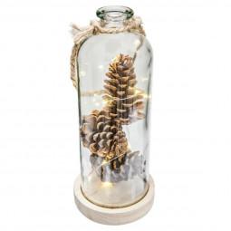 """Vase lumineux avec une guirlande LED et pommes de pin """"à l'orée des bois"""""""