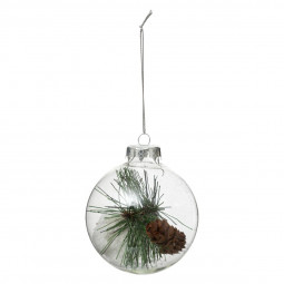 Décoration de sapin Boule de noël en verre intérieur feuilles D 8 cm A l'orée des bois