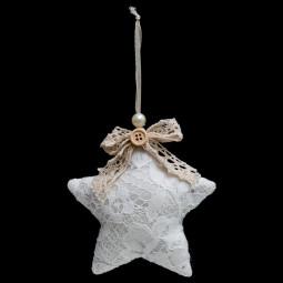 Décoration Sujet de Noël Forme en dentelle blanche H 9 cm collection Sarah B.