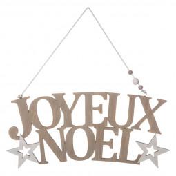Décoration de Noël Pancarte JOYEUX NOEL en bois H 13.5 cm collection Lodge