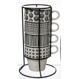 Lot de 4 mugs sur rack bohemia