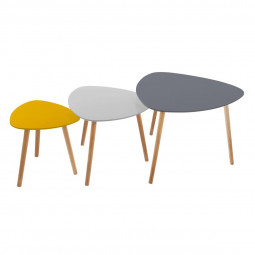 Lot de 3 tables de café break mileo