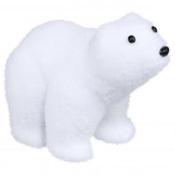 Décoration de Noël Bébé Ours floqué blanc H 10 cm Sous son blanc manteau
