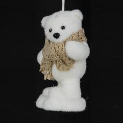 Décoration Sujet de Noël Ours avec écharpe H 12 cm A l'orée des bois