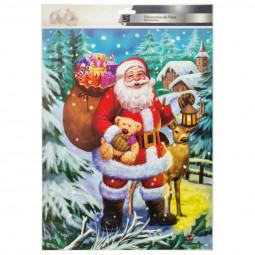 Décoration traditionnelle pour vitres Père noël 30 x 42 cm Noël et compagnie