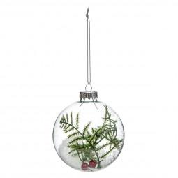 Décoration de sapin Boule de noël en verre intérieur branche D 8 cm Un Noël kinfolk