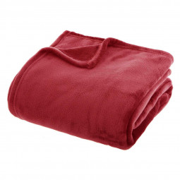 Plaid flanel uni rouge 180x230