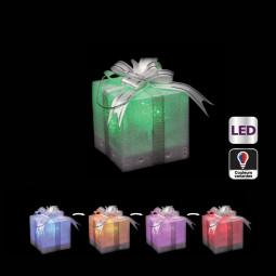 Sujet lumineux de noël Paquet cadeau à poser LED à variation de couleur