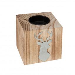 Photophore carré en bois avec déco en alu H 8 cm  A l'orée des bois