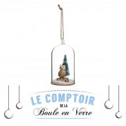 Décoration de sapin Sujet de Noël Bocal en verre intérieur animal  D 6.5 cm Un Noël kinfolk