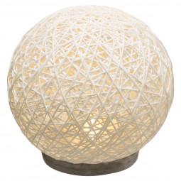 Lampe boule abat-jour blanc sur socle ciment