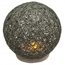 Lampe boule abat-jour gris sur socle ciment