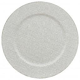 Assiette de présentation ronde Blanche avec strass D 33 cm La maison des couleurs