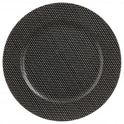Assiette de présentation ronde Noire avec strass D 33 cm La maison des couleurs