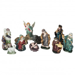 Décoration de crèche de Noël Set de 11 santons en porcelaine H 9 cm