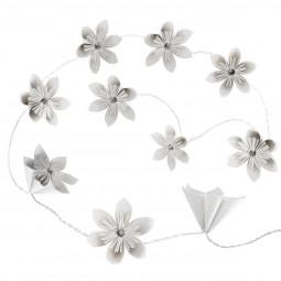 Guirlande 10 led fleurs blanches/ors à piles
