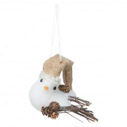 Décoration Sujet de Noël Oiseau avec bonnet et pommes de pin H 13 cm Un Noël kinfolk