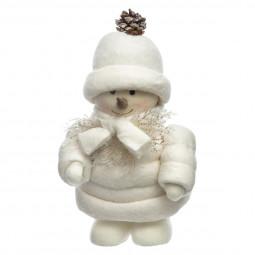 Décoration de Noël Bonhomme de Neige habillé pour braver le froid H 31 cm Noël et compagnie