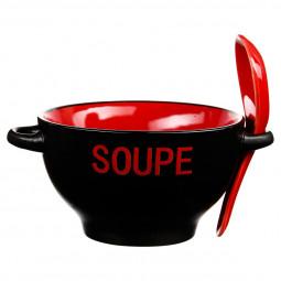 Bol à soupe rouge avec sa cuillère